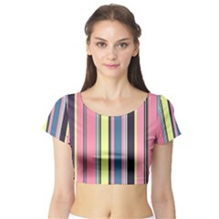Seamless Colorful Stripes Pattern Background Wallpaper Short Sleeve Crop Top (Tight Fit)