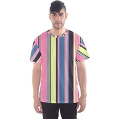 Seamless Colorful Stripes Pattern Background Wallpaper Men s Sport Mesh Tee