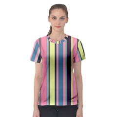 Seamless Colorful Stripes Pattern Background Wallpaper Women s Sport Mesh Tee