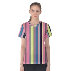 Seamless Colorful Stripes Pattern Background Wallpaper Women s Cotton Tee