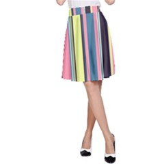 Seamless Colorful Stripes Pattern Background Wallpaper A Line Skirt