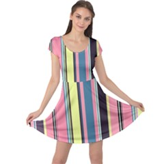 Seamless Colorful Stripes Pattern Background Wallpaper Cap Sleeve Dresses