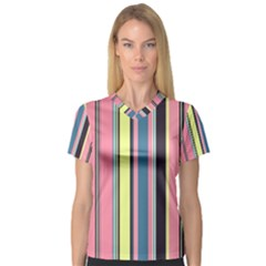 Seamless Colorful Stripes Pattern Background Wallpaper Women s V Neck Sport Mesh Tee