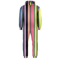 Seamless Colorful Stripes Pattern Background Wallpaper Hooded Jumpsuit (Men)