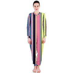 Seamless Colorful Stripes Pattern Background Wallpaper OnePiece Jumpsuit (Ladies)