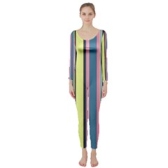 Seamless Colorful Stripes Pattern Background Wallpaper Long Sleeve Catsuit