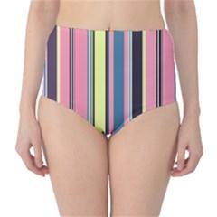 Seamless Colorful Stripes Pattern Background Wallpaper High Waist Bikini Bottoms