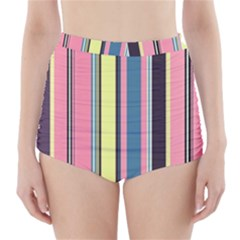 Seamless Colorful Stripes Pattern Background Wallpaper High-Waisted Bikini Bottoms
