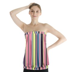 Seamless Colorful Stripes Pattern Background Wallpaper Strapless Top