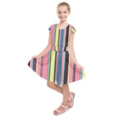 Seamless Colorful Stripes Pattern Background Wallpaper Kids  Short Sleeve Dress