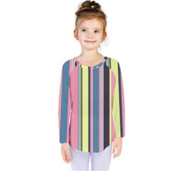 Seamless Colorful Stripes Pattern Background Wallpaper Kids  Long Sleeve Tee