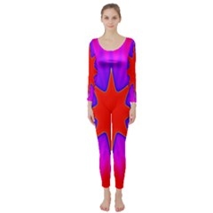 Pink Digital Computer Graphic Long Sleeve Catsuit