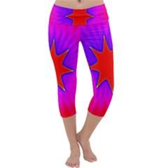 Pink Digital Computer Graphic Capri Yoga Leggings