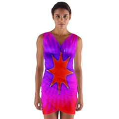 Pink Digital Computer Graphic Wrap Front Bodycon Dress