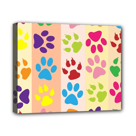 Colorful Animal Paw Prints Background Canvas 10  X 8