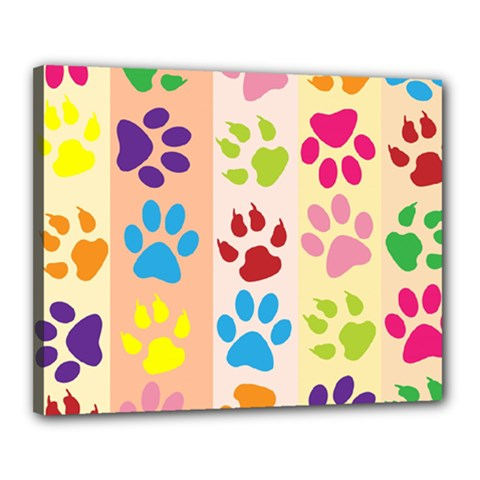 Colorful Animal Paw Prints Background Canvas 20  X 16