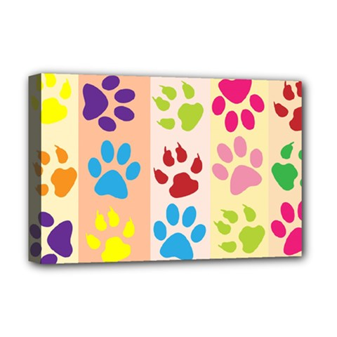Colorful Animal Paw Prints Background Deluxe Canvas 18  x 12