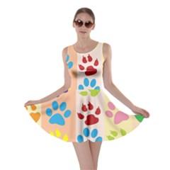 Colorful Animal Paw Prints Background Skater Dress