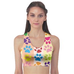 Colorful Animal Paw Prints Background Sports Bra
