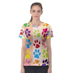Colorful Animal Paw Prints Background Women s Sport Mesh Tee