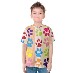 Colorful Animal Paw Prints Background Kids  Cotton Tee