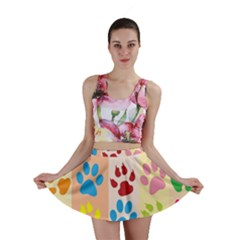 Colorful Animal Paw Prints Background Mini Skirt