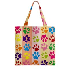 Colorful Animal Paw Prints Background Grocery Tote Bag