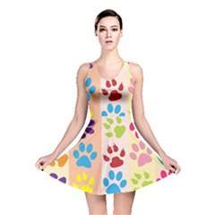 Colorful Animal Paw Prints Background Reversible Skater Dress