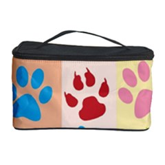 Colorful Animal Paw Prints Background Cosmetic Storage Case