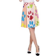 Colorful Animal Paw Prints Background A Line Skirt