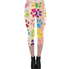 Colorful Animal Paw Prints Background Capri Leggings