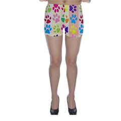 Colorful Animal Paw Prints Background Skinny Shorts