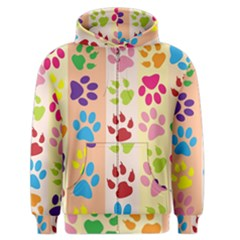 Colorful Animal Paw Prints Background Men s Zipper Hoodie