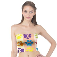 Colorful Animal Paw Prints Background Tube Top