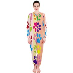 Colorful Animal Paw Prints Background OnePiece Jumpsuit (Ladies)