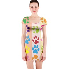 Colorful Animal Paw Prints Background Short Sleeve Bodycon Dress