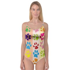 Colorful Animal Paw Prints Background Camisole Leotard