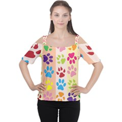 Colorful Animal Paw Prints Background Women s Cutout Shoulder Tee