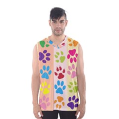 Colorful Animal Paw Prints Background Men s Basketball Tank Top