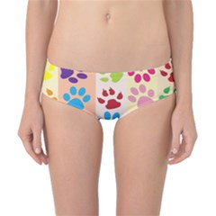 Colorful Animal Paw Prints Background Classic Bikini Bottoms