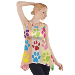 Colorful Animal Paw Prints Background Side Drop Tank Tunic