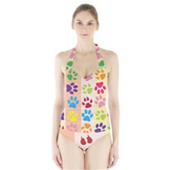 Colorful Animal Paw Prints Background Halter Swimsuit