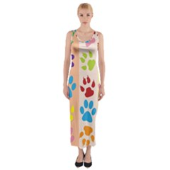 Colorful Animal Paw Prints Background Fitted Maxi Dress