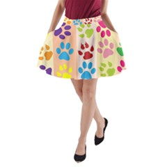 Colorful Animal Paw Prints Background A-Line Pocket Skirt