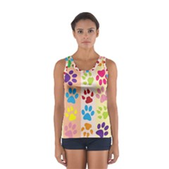 Colorful Animal Paw Prints Background Women s Sport Tank Top