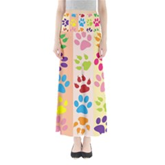 Colorful Animal Paw Prints Background Maxi Skirts