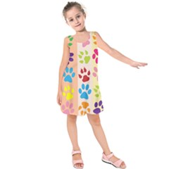 Colorful Animal Paw Prints Background Kids  Sleeveless Dress