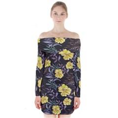 Wildflowers Ii Long Sleeve Off Shoulder Dress