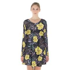 Wildflowers Ii Long Sleeve Velvet V Neck Dress