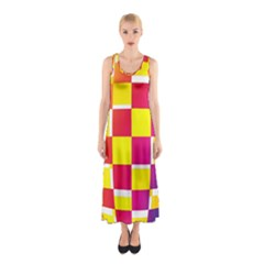 Squares Colored Background Sleeveless Maxi Dress